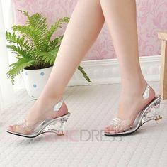 Cinderella's glass slippers Ericdress Transparent Wedge Sandals Wedge Sandals
