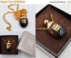 ON SALE Vintage Givenchy Perfume Pendant by HauteVintageJewels