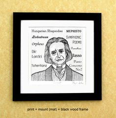 Franz LISZT - a portrait art print of the great Hungarian composer and pianist by PaulHelm on Etsy