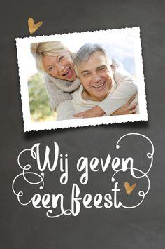 lovz   foto uitnodiging huwelijksjubileum kaart  sierletters en krijtbord print