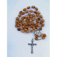 Olive Wood Jerusalem Rosary with soil, silver chain and crucifix