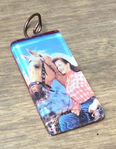 Cowgirl with Palomino Glass Tile Pendant by vowangems on Etsy