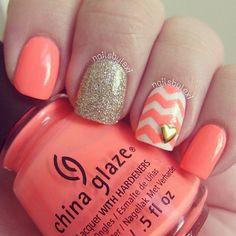 Peach Sparkled Chevron Nails
