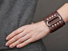 Leather bracelet, brown wide cuff, gothic jewelry bangle, men women wristband, a… - Leather Jewelry Leather Bracers, Leather Cuffs, Brown Leather, Leather Totes, Leather Bags, Leather Purses, Leather Men, Diy Leather Bracelet, Leather Jewelry