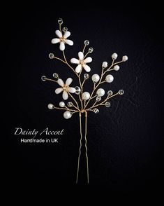 This delicate hair pin features pearl and crystal branches surrounding enamel plated daisies. The hair pin is made with gold tone wire, similar design can be made with silver plated wire. Order processing time is 2-3 days. All our jewelry and hair accessories are presented in gift
