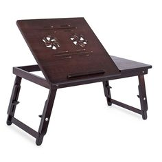 Sofia Sam Bamboo Flower Lap Tray with Adjustable Legs Foldable Breakfast Serving Bed Tray Lap Desk with Tilting Top and Side Drawer Laptop Stand Walnut Desk Tray, Lap Tray, Bed Table, Table Desk, Extra Storage Space, Storage Spaces, Portable Workstation, Lap Desk, Desk Bed