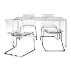 IKEA - TORSBY / TOBIAS, Pöytä + 4 tuolia, Karkaistusta lasista valmistettu…