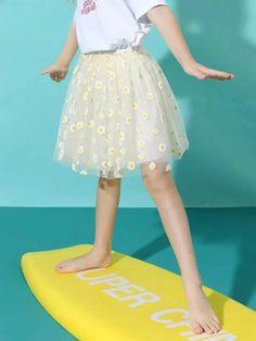 Girls Daisy Floral Mesh Skirt – Kidenhouse Mesh Skirt, Pleated Skirt, High Waisted Skirt, Leopard Print Skirt, Floral Print Skirt, Trendy Girl, Dress Hairstyles, Cute Girl Outfits, Jeans Dress