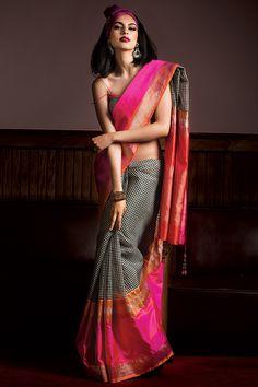 Handloom saree weaved in kora silk.