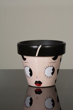 "Hand Painted Flower Pot- 6 Inch Terracotta Pot ""Betty Boop"", Birthday, Housewarming, Wedding, Christening Gift- Made to Order"