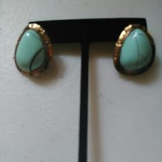 Faux turquoise and gold fashion earrings Brand new never worn. Faux turquoise and gold earrings. Post back with rubber stoppers to keep on. NWOT. Jewelry Earrings