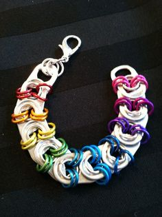 TABZ - handcrafted soda tab / pop tab / pull tab / beer tab jewelry bracelet in multi colors