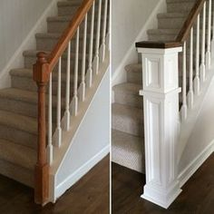 New remodel stairs staircase makeover newel posts Ideas Home Upgrades, Style At Home, Home Renovation, Home Remodeling, Staircase Makeover, Refinish Staircase, Staircase Remodel, House Stairs, Deck Stairs