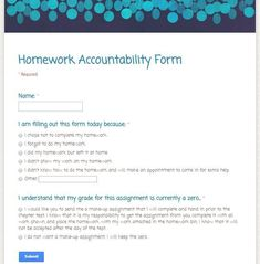 Google form to hold students accountable for completing homework assignments