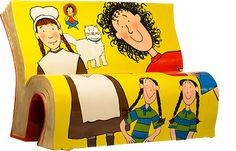BookBench celebrating Jacqueline Wilson books, such as the Tracy Beaker series;  Nick Sherratt created the original illustrations, BookBench painted by Jane Headford - photo by Books about Town;  one of 50 BookBenches around London, England, in 2014