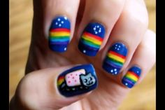 Nyan cat nails