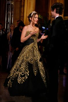 """Marchese peacock gown on Leighton Meester, """"Gossip Girl"""""""