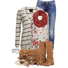 """""""Floral & Stripe"""" by s-p-j on Polyvore"""