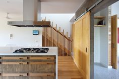 A variety of different coloured timbers provide texture and warmth.