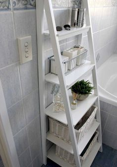 Small Bathroom Storage Solutions and Shelving Ideas bathroom ideas shelving s .Small Bathroom Storage Solutions and Shelving Ideas bathroom ideas shelving s . Small Bathroom Storage Solutions and Shelving Ideas bathroom ideas Small Bathroom Organization, Bathroom Storage Shelves, Home Organization, Bedroom Storage, Bathroom Ladder Shelf, Bath Storage, Storage Bins, Ikea Ladder Shelf, Storage Ideas For Bathroom