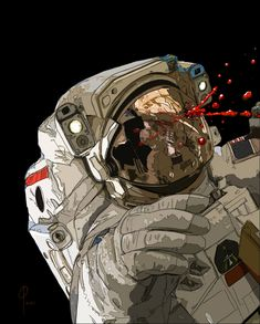 Space Trouble, Paul LaSalle on ArtStation at… Astronaut Wallpaper, Ligne Claire, Cyberpunk Art, Arte Pop, Sci Fi Art, Dark Art, Illustration Art, Astronaut Illustration, Art Inspo