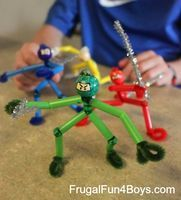 Straw and Chenille Stem Ninjas - Things to Make and Do, Crafts and Activities for Kids - The Crafty Crow