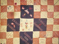 Quilt with veteran's names dated James Brownell chapter ( the Women's Relief Corps, Cedar Falls, Iowa Cedar Falls, Civil War Quilts, Antique Quilts, Old Things, Blanket, Antiques, Exhibit, Iowa, Fabric