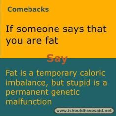 Use this snappy comeback if someone makes fun of your weight.. Check out our top ten comebacks lists | www.ishouldhavesaid.net