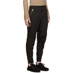 Balmain Black Zip Trousers ($904) ❤ liked on Polyvore featuring men's fashion, men's clothing, men's pants, men's casual pants, men, mens cuffed pants, mens zipper pants, mens zip off pants, mens skinny pants and mens skinny fit dress pants