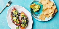 This easy vegetarian dinner uses a spice-rubbed sweet potato in place of rice as a canvas for all your favorite burrito toppings. Serve the leftover zesty guacamole with crisp tortilla chips on the side.