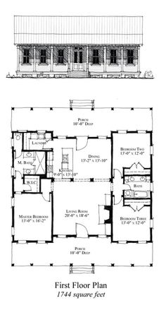 COOL House Plan ID: Popular Ideas The Barndominium Floor Plans & Cost to Build It Total Living Area: 1744 sq. House Plans One Story, Barn House Plans, New House Plans, Dream House Plans, Cabin Plans, Small House Plans, House Floor Plans, Dream Houses, Crazy Houses