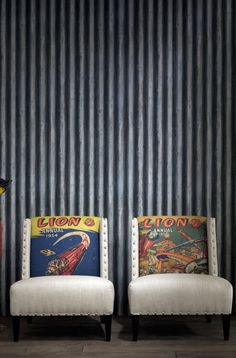 corrugated metal wallpaper - looks fabby with these chairs