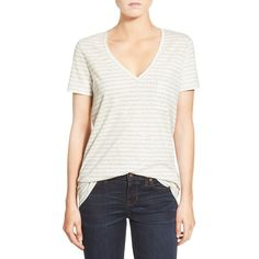 Madewell 'Whisper' Stripe Cotton V-Neck Pocket Tee ($30) ❤ liked on Polyvore featuring tops, t-shirts, pearl ivory, v neck tee, white v neck t shirt, white t shirt, white cotton t shirts and white pocket t shirts
