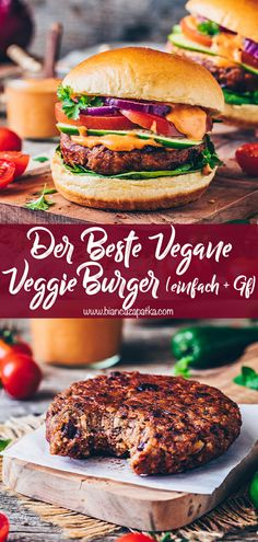 This amazing vegan burger recipe is easy to make with simple basic ingredients and the best veggie bean patty, that's gluten-free, soy-free & grillable! Vegan Burger Recipe Easy, Vegan Recipes, Recipe For Veggie Burgers, Amazing Vegetarian Recipes, Vegetarian Diets, Veggie Patties, Vegan Burgers, Vegetarian Burger Patties, Burger Recipes