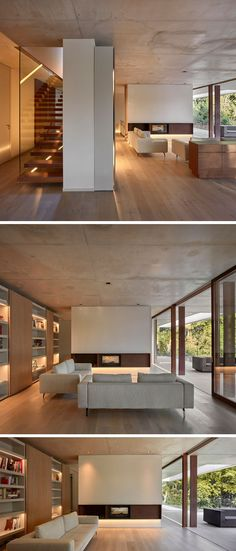 Home In The Pine Forest By Ramon Esteve : Stepping inside this modern house, the living room with wood flooring and a concrete ceiling, has a minimalist fireplace and a wall of shelving with highlighted sections to display personal items. Living Room Wood Floor, Living Room Modern, Minimalist Fireplace, Minimalist House, Concrete Ceiling, Stained Concrete, Concrete Floors, Modern Mansion, White Paneling