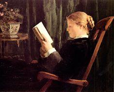 1882 Lezend meisje    Albert Samuel Anker (April 1, 1831 – July 16, 1910)   Was een Zwiterse schilder en illustrator die de nationale schilder van Zwitserland werd genoemd om zijn populaire vertolking in zijn schulderijen van Zwitserse leven.