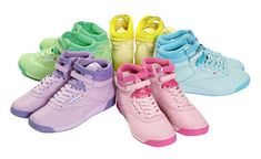 Thre Reebok Freestyle: a women's athletic shoe style that was introduced in 1982 and designed for aerobic exercise. It quickly surged Reebok into the mainstream athletic wear market and fashion scene along with becoming one of the most popular athletic shoes of all time. In 1984, the shoe accounted for more than half of the Reebok sales. As a result, the Freestyle became a 1980s fashion icon and is still manufactured to this day.
