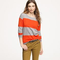 because I love these colors together...orange & heather grey with khaki!  love it