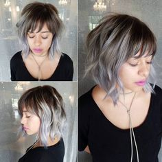 Fabulous Choppy Bob Hairstyles Gray Balayage Bob this makes me want bangs again >_<Gray Balayage Bob this makes me want bangs again >_< Layered Bob With Bangs, Layered Bob Short, Short Hair With Bangs, Short Hair Cuts, Wispy Bangs, Choppy Bob With Bangs, Ombre Bob With Bangs, Bob Bangs, Choppy Bobs