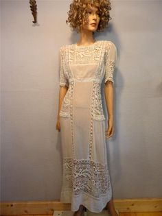 Love this...; Antique Edwardian Hand Crochet/ lace Wedding Dress, Sheer Gauze