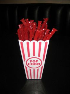 popcorn container with twizzlers for sock hop candy bar Fifties Party, Retro Party, 1950s Party, 50s Theme Parties, Diner Party, Party Party, Grease Party, Sock Hop Party, 50th Birthday Party