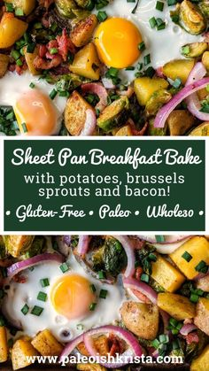 Sheet Pan Breakfast Bake with Potatoes, Brussels Sprouts and Bacon! This sheet pan meal is great for busy weekday mornings! Bacon Recipes, Brunch Recipes, Paleo Recipes, Breakfast Recipes, Brunch Ideas, Potato Recipes, Breakfast Ideas, Free Recipes, Whole 30 Breakfast