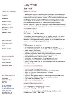 Bar Staff Resume Template   Http://resumesdesign.com/bar Staff