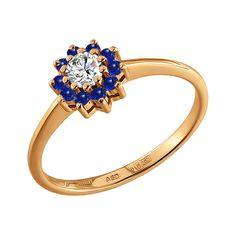 Anillo de oro con zafiros y diamante