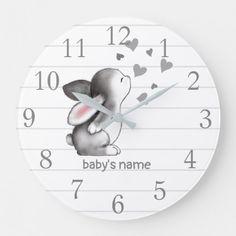 White Grey Bunny Heart Nursery Decor Wall Clock