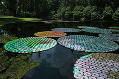 waterlillies - recycled CD's