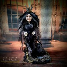Ooak Dolls, Art Dolls, Witch Art, Hand Shapes, Shades Of Black, Pastel Colors, Her Hair, Art Pieces, Vintage Fashion