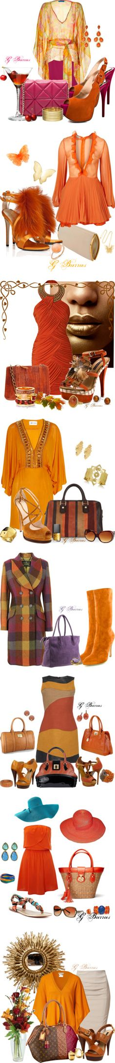"""Shades of Orange"" by gaburrus on Polyvore"
