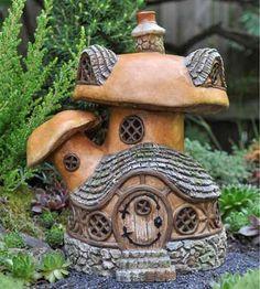 Fairy Houses for the Garden | Miniature Garden Fairy/Gnome/ Village Mushroom House by Fiddlehead in ...