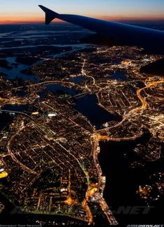 Stockholm, and it's sadly not my picture, but it reminds me of so many night landings in Chicago from my childhood. City lights from the window seat of an airplane. Airplane Photography, Tumblr Photography, Travel Photography, Night Photography, Airplane Window, Airplane View, Airplane Mode, Travel Pictures Poses, Travel Photos